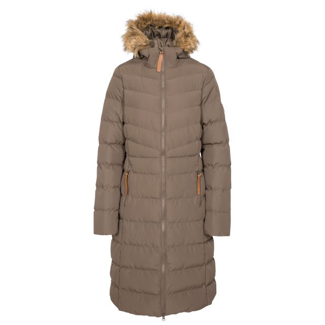 Trespass Womens Padded Jacket Casual Audrey in Khaki, Front view on mannequin