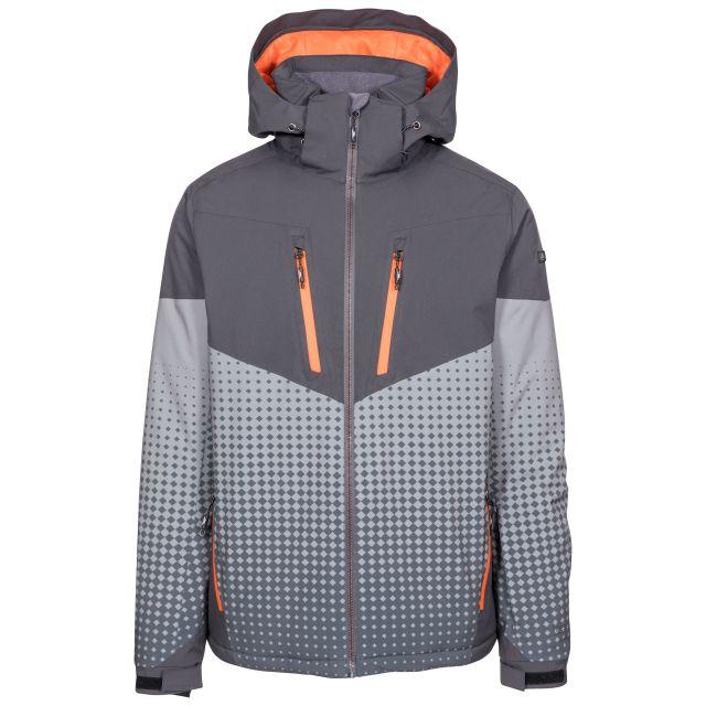 Bert Men's Waterproof Ski Jacket in Grey, Front view on mannequin