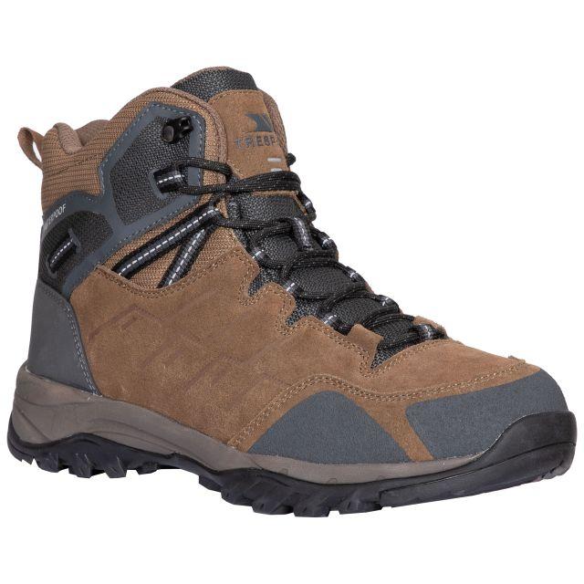 Trespass Mens Walking Boots Waterproof Breathable Caelan Green, Angled view of footwear