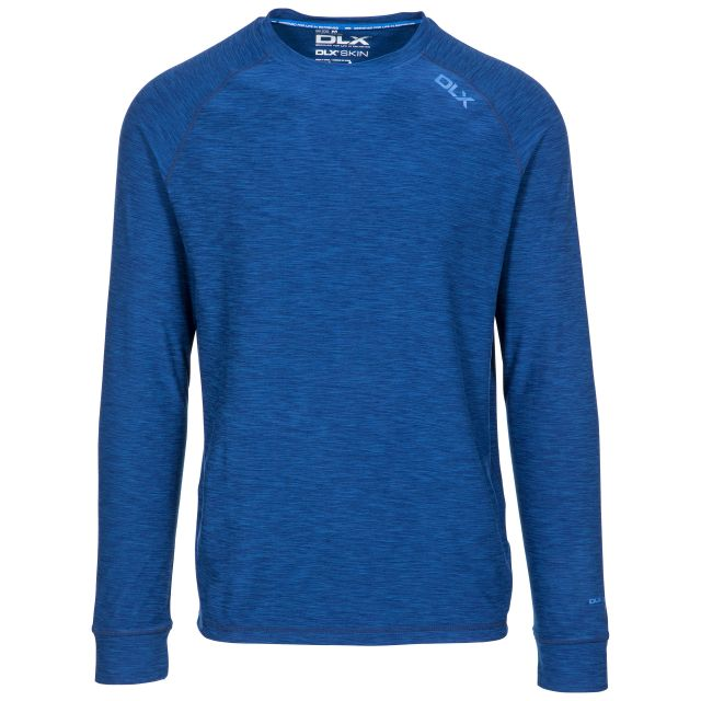 Callum Men's DLX Antibacterial Long Sleeve T-Shirt in Blue, Front view on mannequin