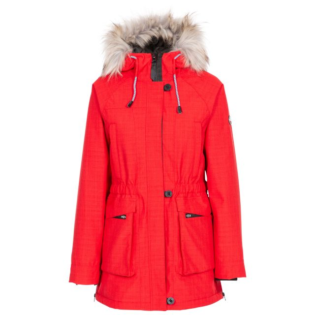 Caption Women's Waterproof Parka Jacket in Red, Front view on mannequin