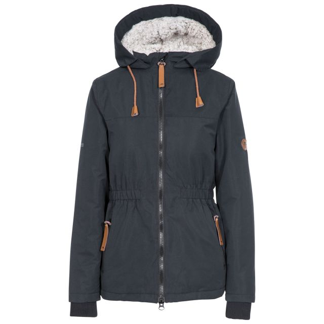 Trespass Womens Padded Jacket Fleece Lined Cassini Black, Front view on mannequin