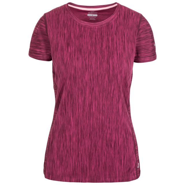 Daffney Women's Quick Dry Active T-Shirt in Berry Marl, Front view on mannequin
