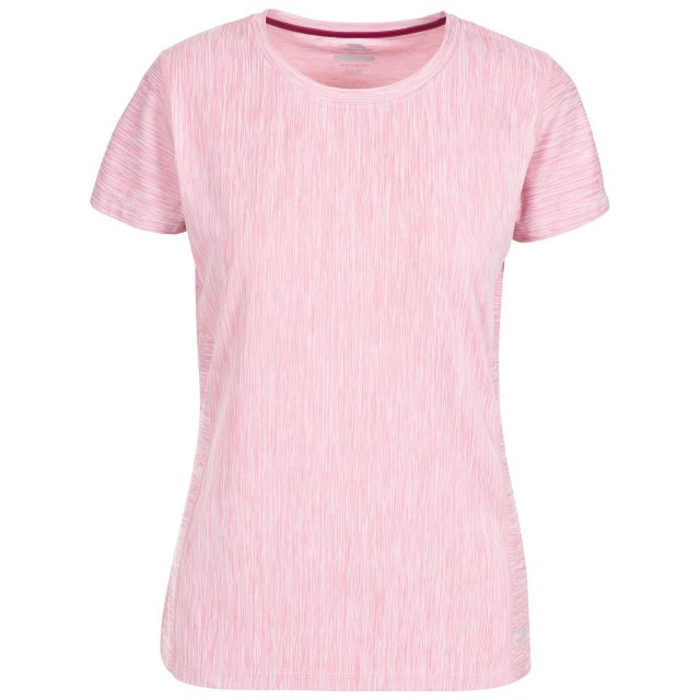Daffney Women's Quick Dry Active T-shirt in Lilac, Front view on mannequin