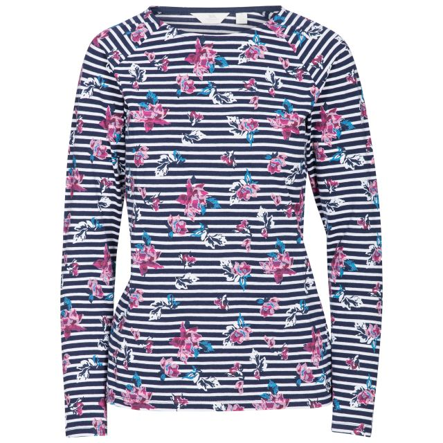 Dellini Women's Long Sleeve Top Floral Stripe, Front view on mannequin