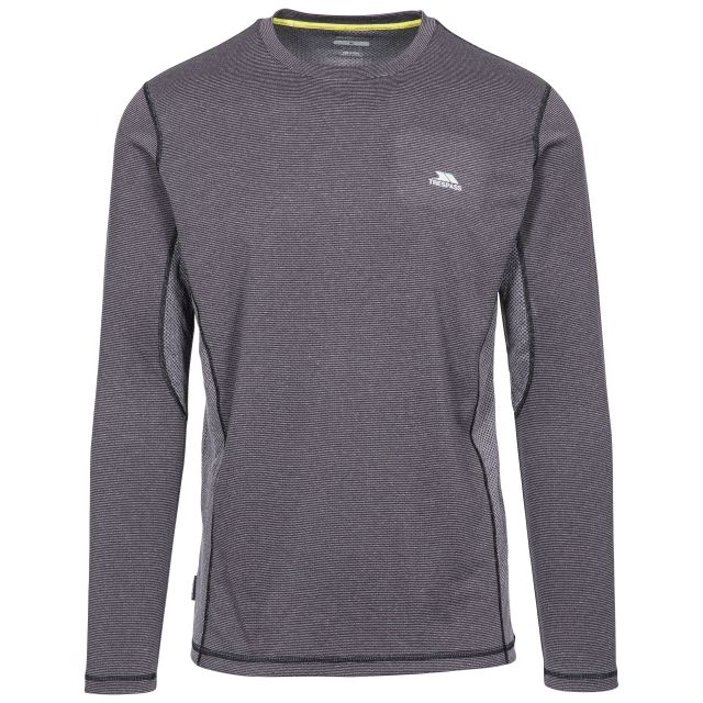 Dmitri Men's Long Sleeve Active Top with Quick Dry in Dark Grey Stripe, Front view on mannequin