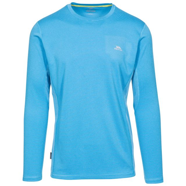 Dmitri Men's Long Sleeve Active Top with Quick Dry in Vibrant Blue Stripe, Front view on mannequin