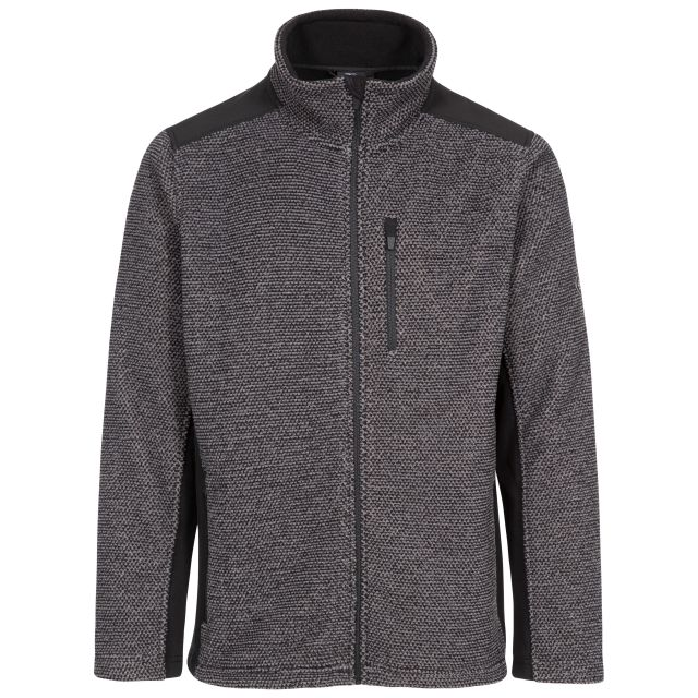 Faratino Men's Knitted Striped Fleece Jacket - DS1, Front view on mannequin