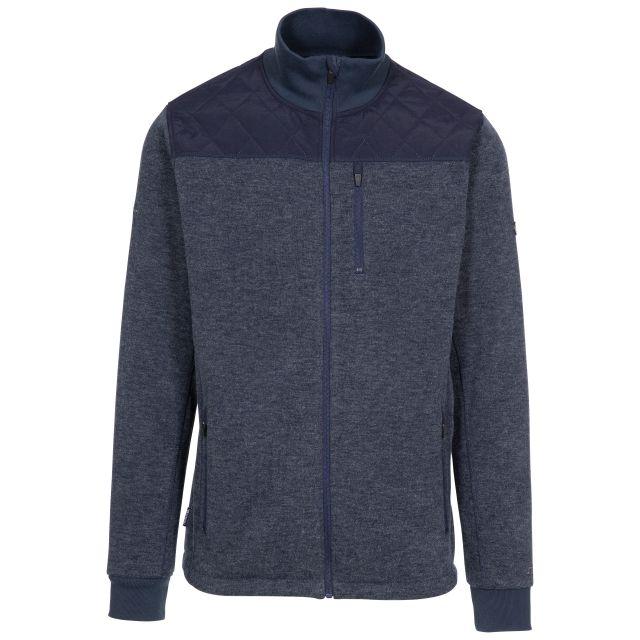 Trespass Mens Fleece Jacket Full Zip Chest Pocket Farlowton Blue, Front view on mannequin