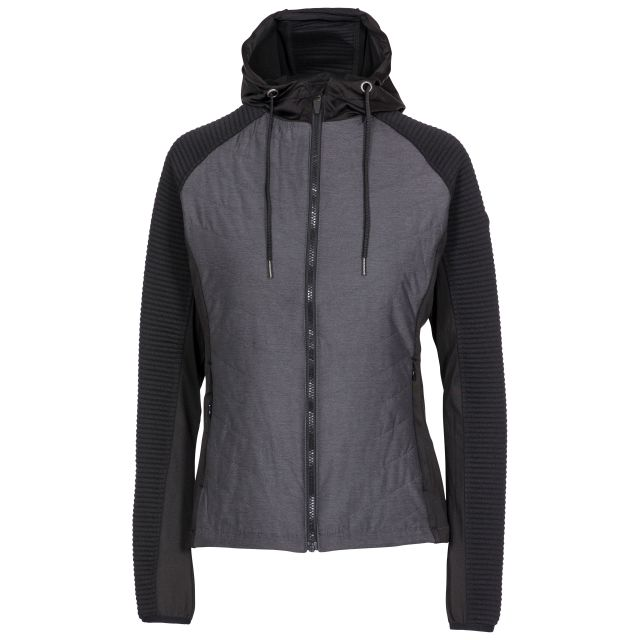 Trespass Womens Active Jacket Padded Body Zip Pockets Grace Black, Front view on mannequin