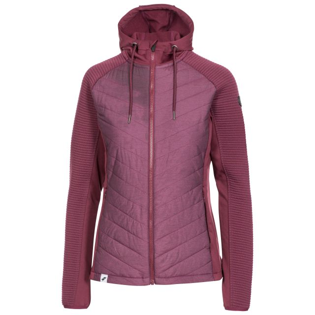 Trespass Womens Active Jacket Padded Body Zip Pockets Grace Fig, Front view on mannequin