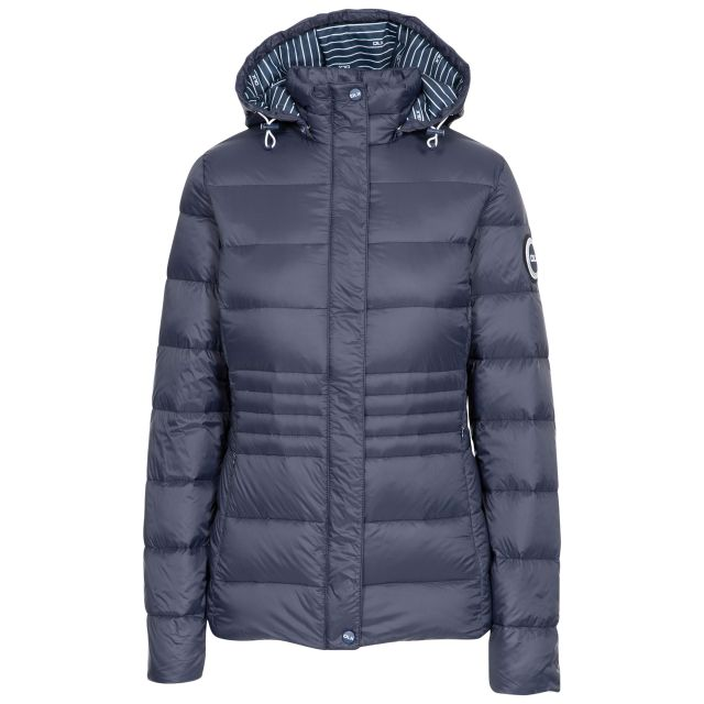 DLX  Womens Down Jacket Hayling in Navy, Front view on mannequin