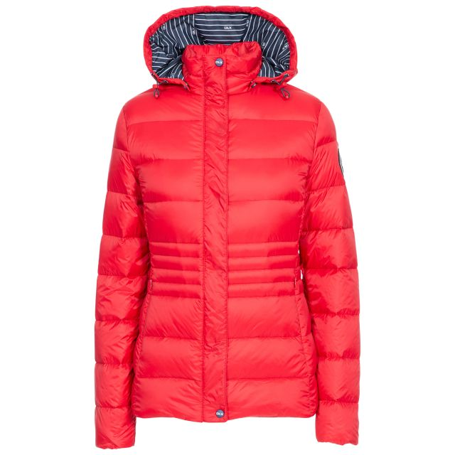 DLX Womens Down Jacket Hayling in Red, Front view on mannequin
