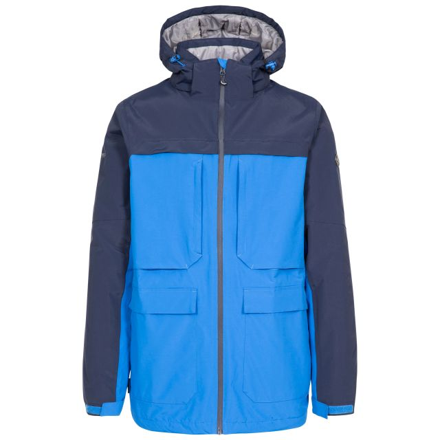 Heathrack Men's Padded Waterproof Jacket in Blue, Front view on mannequin