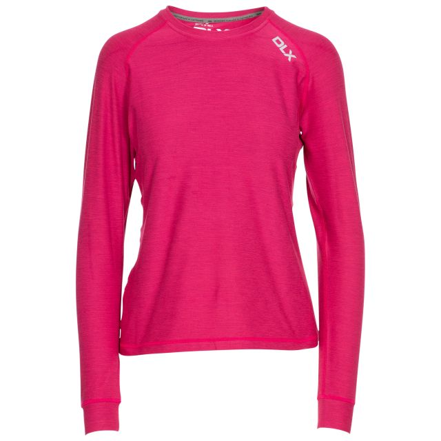 Jannett Women's Antibacterial Long Sleeve T-Shirt in Red, Front view on mannequin