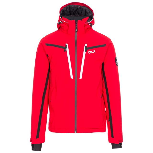 Jared Men's DLX Slim Fit Ski Jacket with RECCO - RED, Front view on mannequin