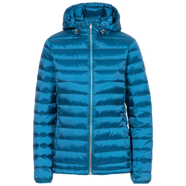 Trespass Womens Down Jacket Katheryn in Cosmic Blue, Front view on mannequin