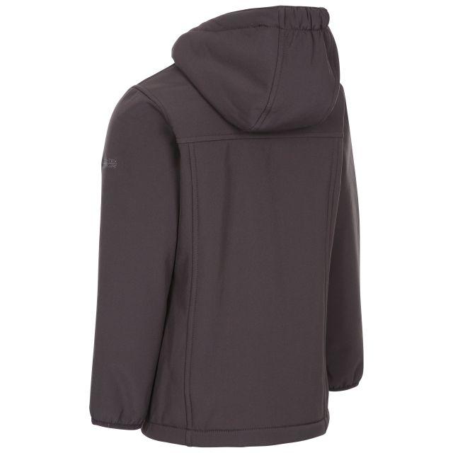 Trespass Girls Long Length Waterproof Softshell Jacket in Dark Grey Kristen