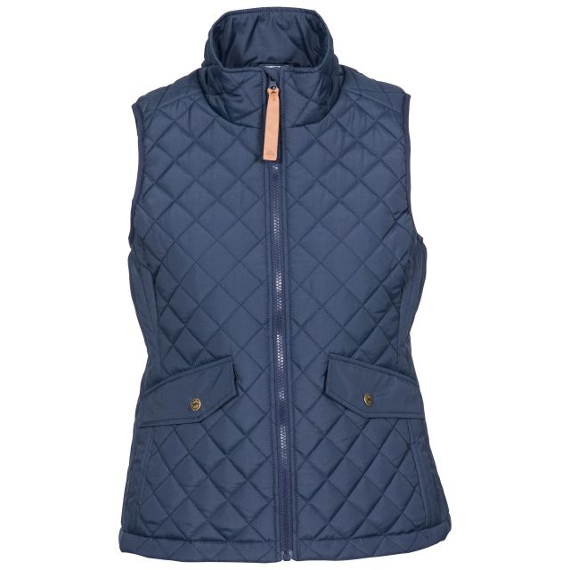 Larisa Women's Quilted Gilet in Navy, Front view on mannequin