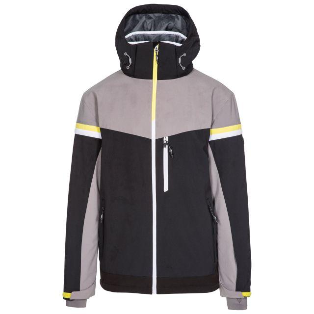 Trespass Men's Ski Jacket Lightly Padded Zip Off Hood Li Black, Front view on mannequin