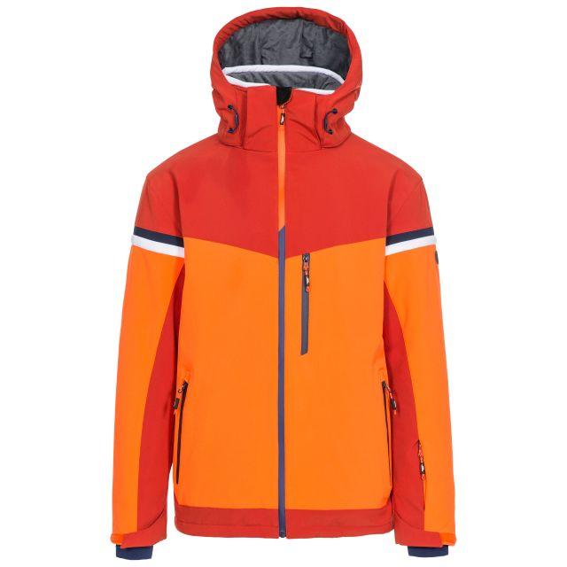 Trespass Men's Ski Jacket Lightly Padded Zip Off Hood Li Orange, Front view on mannequin