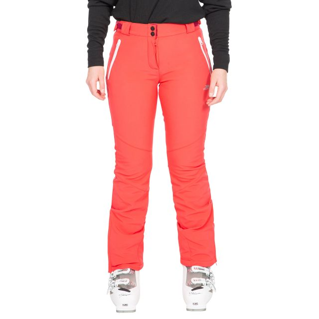 Trespass Womens Salopettes Slim Fit Microfleece Lois in Red, Front view on model
