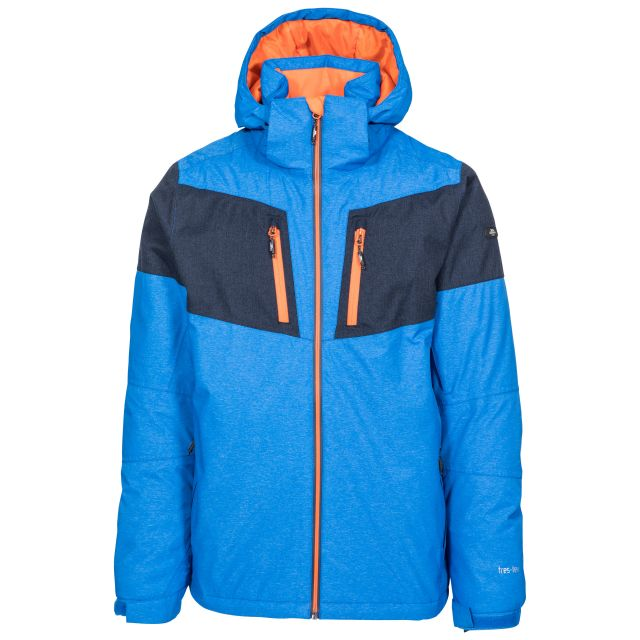 Trespass Mens Ski Jacket Waterproof Windproof Mack Blue, Front view on mannequin