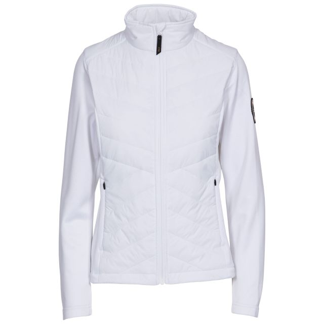 Magda Women's DLX Active Jacket with Padded Body in White, Front view on mannequin
