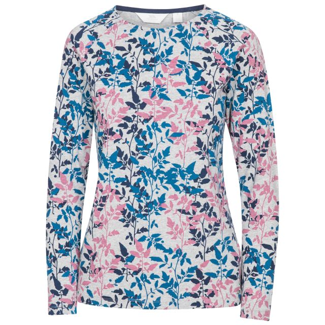 Margery Women's Long Sleeve Top Leaf Print, Front view on mannequin