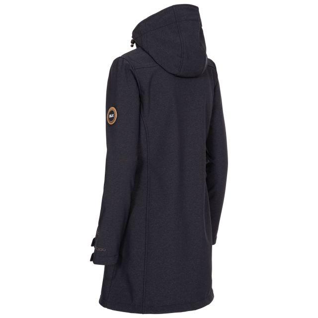 DLX Womens Softshell Jacket Water Resistant Longer Length Maria in Black Marl