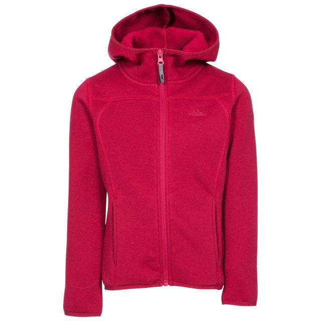 Trespass Kids Fleece Jacket with Hood Full Zip Match Berry, Front view on mannequin