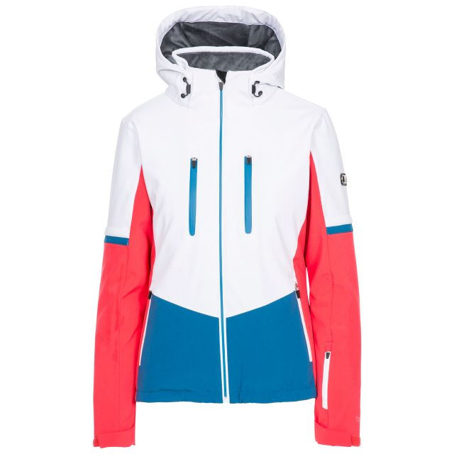 Trespass Womens Ski Jacket Slim Fit Mila in Hibiscus, Front view on mannequin