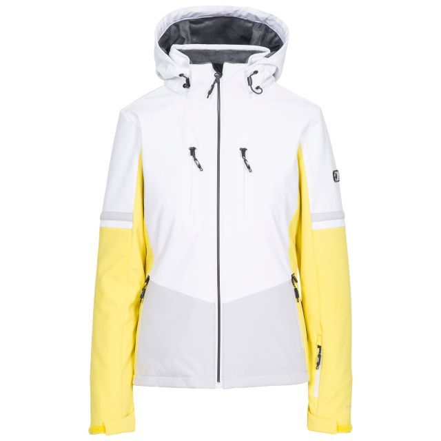 Trespass Womens Ski Jacket Slim Fit Mila in Yellow, Front view on mannequin