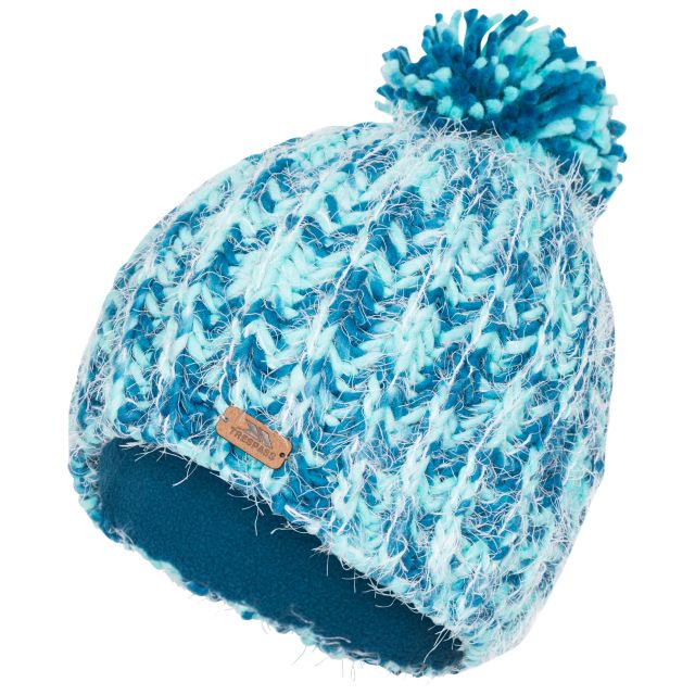 Mullida Women's Knitted Beanie in Blue, Hat at angled view
