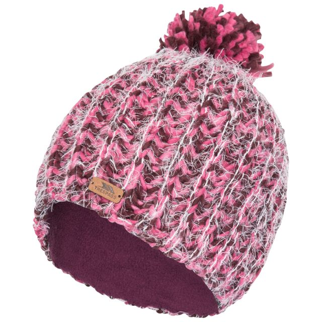 Mullida Women's Knitted Beanie in Fig, Hat at angled view