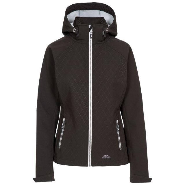 Trespass Womens Softshell Jacket Nelly in Black, Front view on mannequin