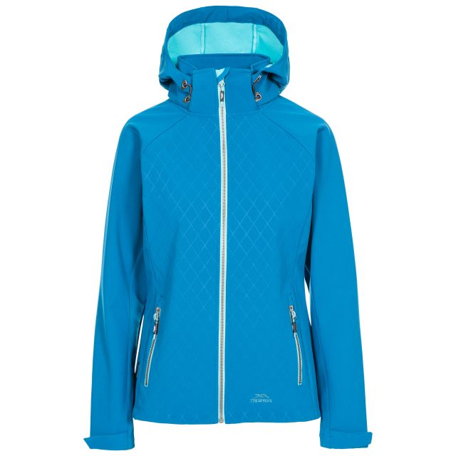 Trespass Womens Softshell Jacket Nelly in Blue, Front view on mannequin