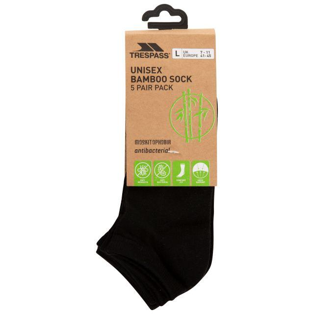 Trespass Unisex Antibacterial Trainer Socks in Black Orbital