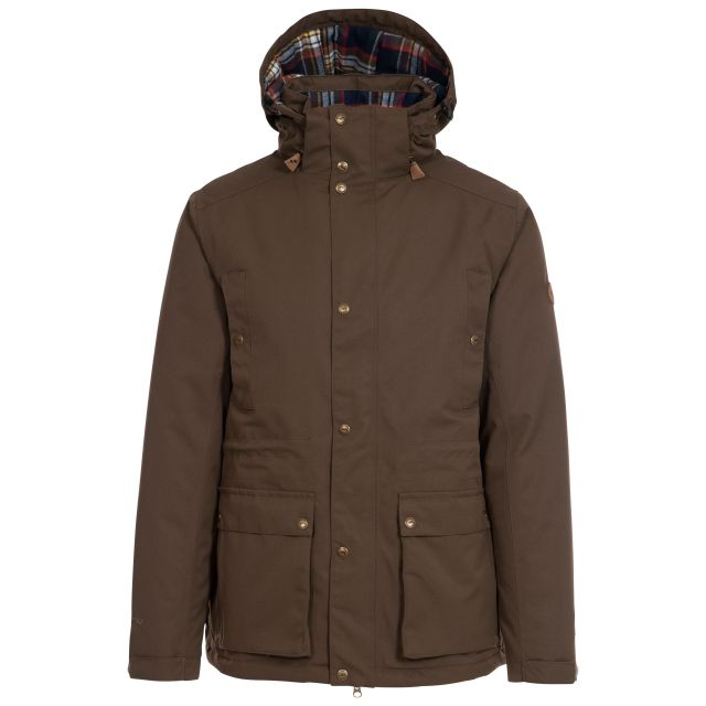Trespass Men's Waterproof Padded Jacket Hood Puxtoncombe Green, Front view on mannequin