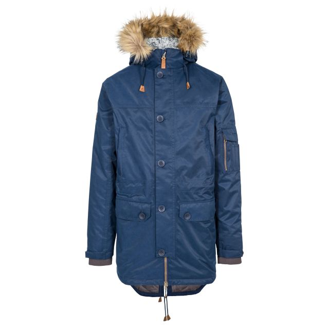Trespass Mens Parka Jacket Waterproof Padded Pyworthy Navy, Front view on mannequin