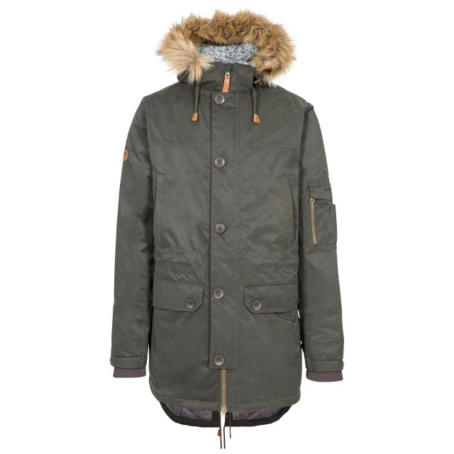 Trespass Mens Parka Jacket Waterproof Padded Pyworthy Olive, Front view on mannequin