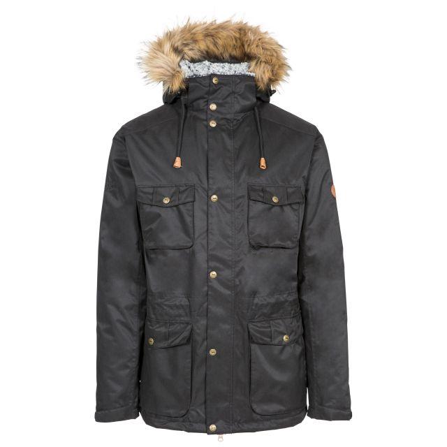 Quebeckford Men's Padded Waterproof Parka Jacket in Black, Front view on mannequin