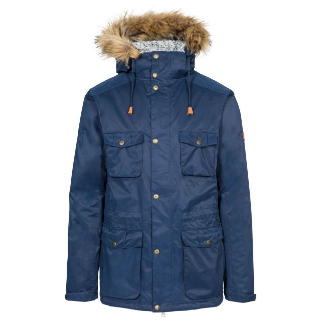 Quebeckford Men's Padded Waterproof Parka Jacket in Navy, Front view on mannequin