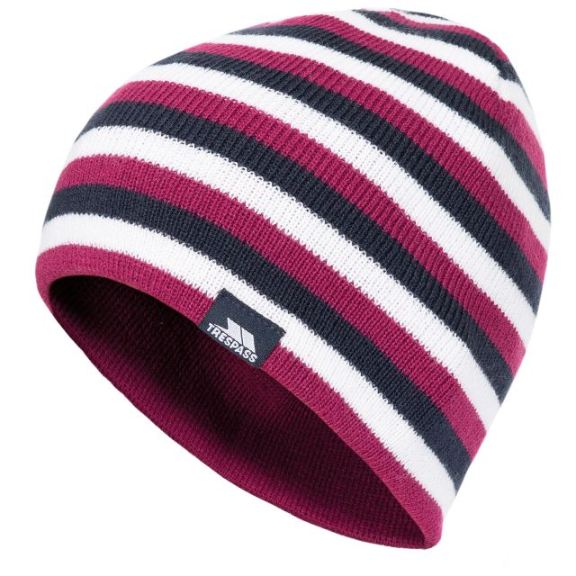 Trespass Kids Knitted Beanie Hat Reagan - BER, Hat at angled view