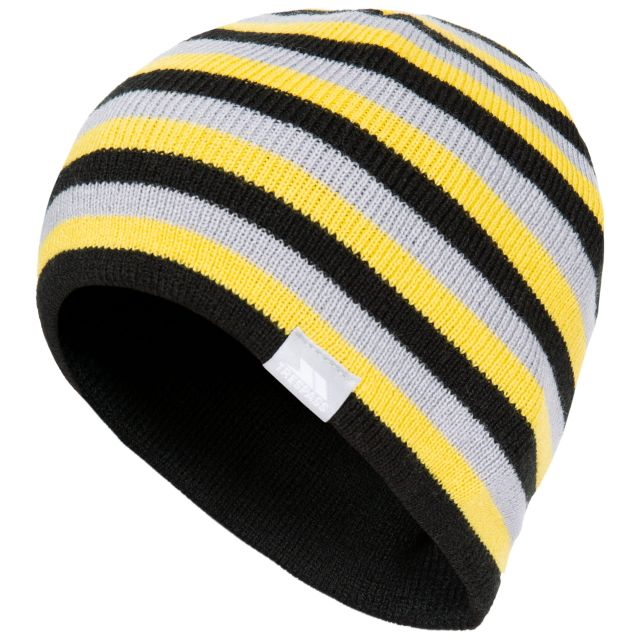 Trespass Kids Knitted Beanie Hat Reagan - BLK, Hat at angled view