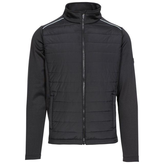 Trespass Mens Zip Top Padded Long Sleeve 2 Zip Pockets Reid Black, Front view on mannequin