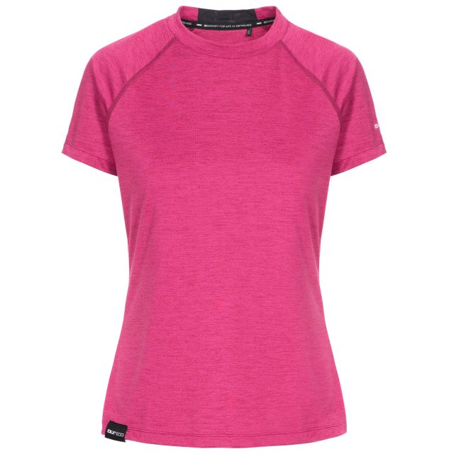 Rhea Women's DLX Eco-Friendly T-Shirt in Berry Marl, Front view on mannequin