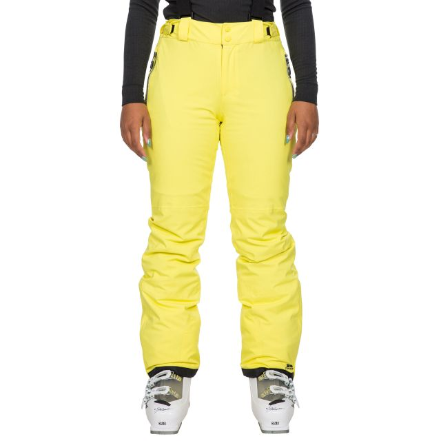 Trespass Women's Waterproof Salopettes Roseanne in Yellow, Front view on model
