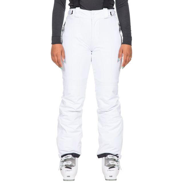 Trespass Women's Waterproof Salopettes Roseanne in White, Front view on model