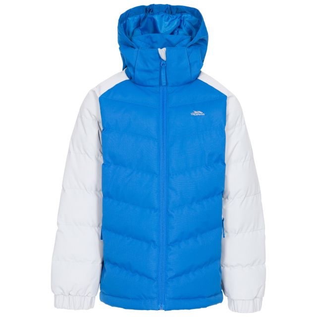 Sidespin Boys' Padded Casual Jacket in Blue, Front view on mannequin